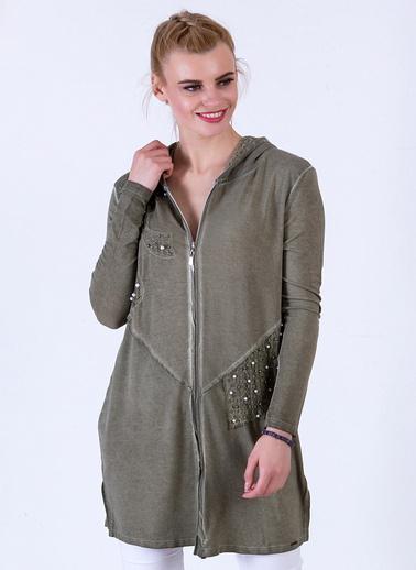 Optique Knitwear Taş Baskılı Kapşonlu Uzun Kol Penye Ceket Haki
